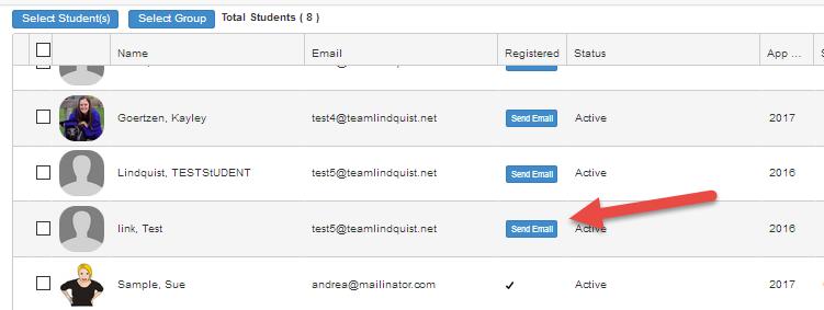 send registration button
