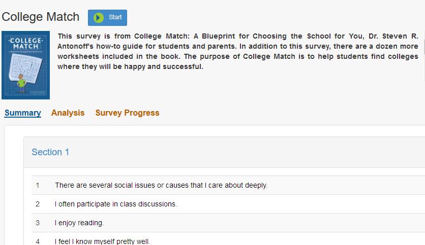 survey dashboard example